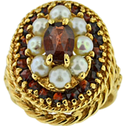 Vintage 14k yellow gold Garnet and cultured pearl ring