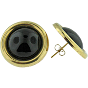 REDUCED 14K yellow Gold & Onyx button earrings. 1970's