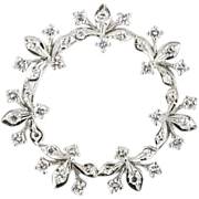 Vintage 14k white gold diamond circle brooch/Pendant