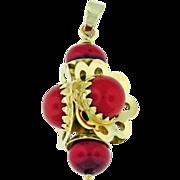 Vintage estate 18k yellow gold  red glass  bead flower pendant Circa 1960.