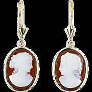 Vintage 14k yellow gold cameo earrings circa 1970