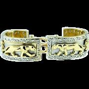 Vintage 14k white gold,  yellow gold, diamond earrings.