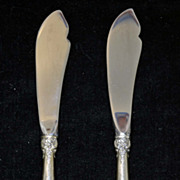 Vintage Wallace Grande Baroque sterling silver set of 2 master butter knives