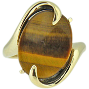 Vintage 14k Yellow gold cats eye ring