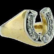 Vintage 1970's 14k yellow gold horseshoe diamond ring