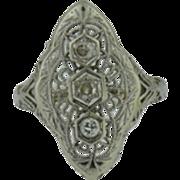 Art Deco 14k White Gold 3 Stone Diamond Ring