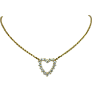 14K Yellow Gold Diamond Heart Necklace Approx. 2.40cttw