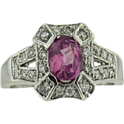 SALE 14K White Gold Vintage Oval Natural Pink Sapphire & Diamond Ring