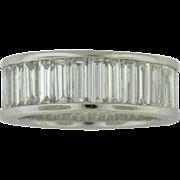 SALE Estate Platinum Diamond  Emerald cut Eternity Band 5.12cttw VS1/VS2 F/H