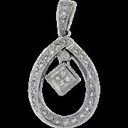 18K White Gold Vintage White Gold Diamond Pendant