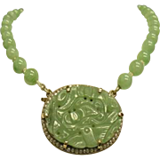Beautiful Vintage  Natural Carved Floral Green Jade 14k Yellow Gold Necklace 30 grams  16 ...