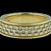 Vintage 14K Yellow gold three row diamond band