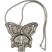 """Reed & Barton butterfly pendant whistle with 16"""" chain."""
