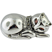 Sterling Silver   Kitty Cat Marcasite Pink Tourmaline  Eyes Sterling Silver Pin/Brooch