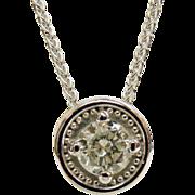 """14K White Gold Round Brilliant Cut Diamond Solitaire Pendant 20"""" Chain"""