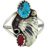 Sterling silver Vintage turquoise Navajo ring signed M