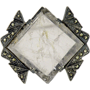 Art Deco sterling silver,Marcasite,white crystal quartz brooch Signed LCW
