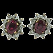 14K Yellow Gold Vintage Ruby & Diamond Earrings