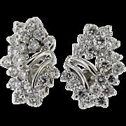 14K White Gold Diamond cluster earrings 2.50ct.