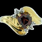 14K Yellow Gold Heart Garnet & Diamond Accent Ring