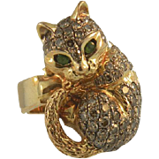 14K Rose Gold Cat Ring with Emerald Eyes and 1.25 Carats Diamonds