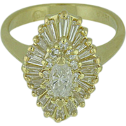 18K Yellow Gold Diamond Cluster Ring with Marquis Center, Tapered Baguettes, and Round Brillia