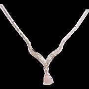 14K White Gold Chevron Diamond & Opal Pendant Necklace