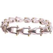 Sterling silver & 18k Yellow gold Hand Wrought  Bracelet