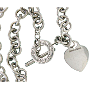 Tiffany & co. Sterling Silver Vintage Heart Toggle Necklace.
