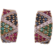 14K Yellow Gold Vintage  Multi Gemstone Earrings