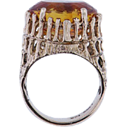Estate 14K yellow Gold Oval Citrine Ring