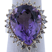 Estate Vintage Amethyst & Diamond Cocktail Ring