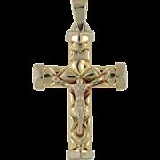 Vintage 14K Yellow Gold & White Gold Crucifix