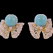 18K Yellow Gold Diamond & Turquoise Bead Earrings