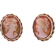 Vintage Hand Carved Shell Cameo Earrings