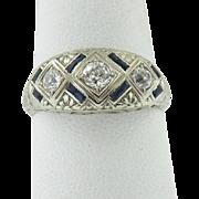 Art Deco 18K White Gold Diamond & Sapphire Ring
