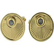 Men's 14KT Yellow Gold and Cabochon Sapphire Cufflinks