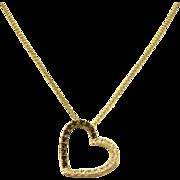14k White Gold Black & White Diamond Heart Necklace