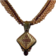 Signed Vintage Mars Valentine Freshwater Pearl Necklace