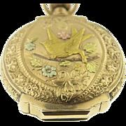 Antique Ladies Art Nouveau 14k Tri Color Gold Elgin Pocket Watch Circa 1880's.