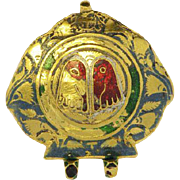 SALE Antique 22K Yellow Gold & enamel Chinese pendant Approx. 19th century.