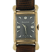 SALE 1940s 14K Rose Gold Bulova Watch with Grey Face and Diamond Hour Markers - Men's or Ladie