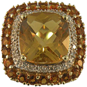 14K Yellow Gold Vintage Square Jubilee cut Citrine and Diamond Ring