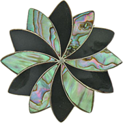 Vintage sterling silver mother of pearl & onyx pin