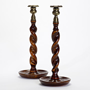 SALE Jacobean Brass Trim Wooden Candlesticks, c. 1905