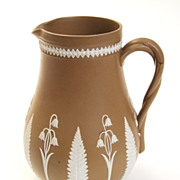"""6"""" Tall Brown and White Jasperware Floral Pitcher"""