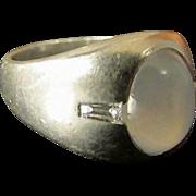 Natural Blue Star Sapphire and Diamond Platinum Ring