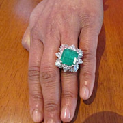 SOLD 9.5 Carat Emerald Solitaire and Diamond Ring in Eighteen Karat Gold