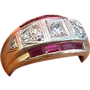 SOLD Retro Diamond and Ruby Ring in Fourteen Karat Gold
