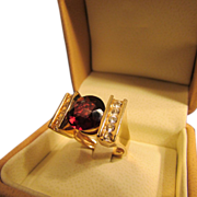 Big Rhodolite Garnet Round Cut Solitaire Ring in 14 Karat Gold